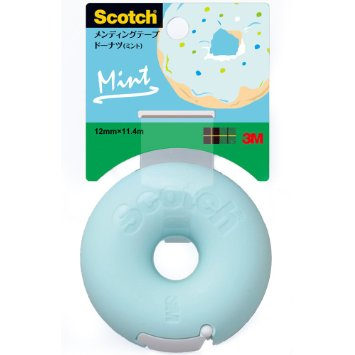 1 X 3M Scotch Donut Tape Dispenser - Mint Blue - 12 mm X 11.4 m
