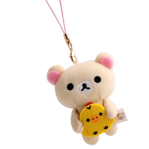 San-X Rilakkuma Petite Plush Doll Cleaner Cell Phone Strap (Korilakkuma and Kiiroitori)